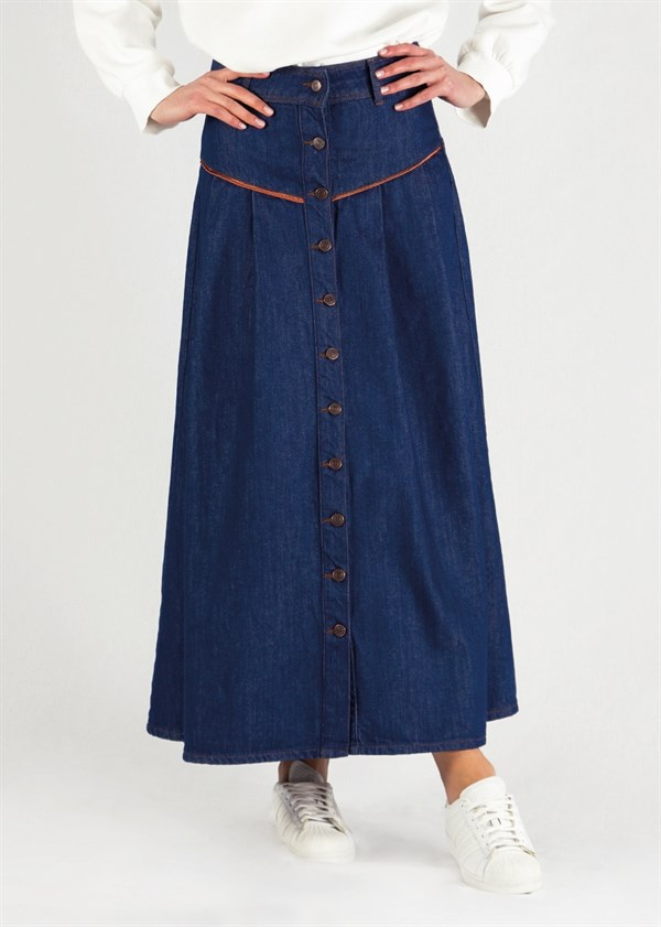 Toyo Buttoned Denim Skirt Dark